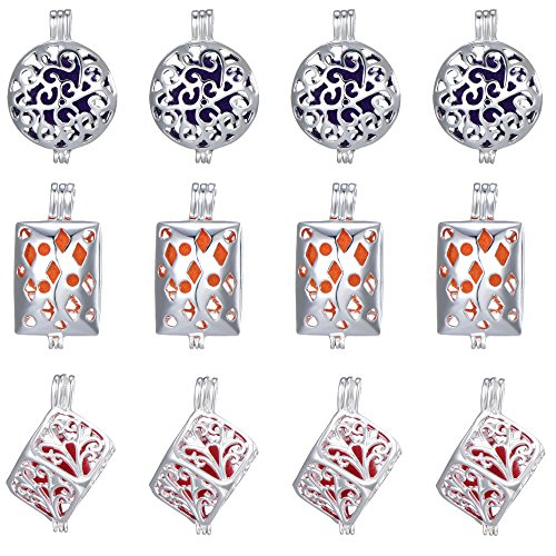 Pearl Cube Beads - 12Pcs Mixed Ball Cuboid Cube Hollow Pendant Pearl Bead Cage Pendants Aromatherapy Essential Oil Diffuser Locket Pendant Necklace Jewelry Making Supplies (Style5)
