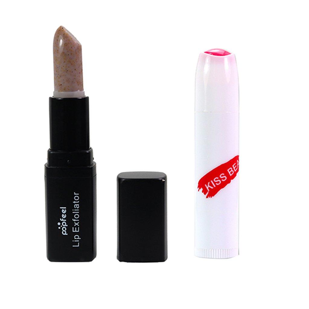 Baoblaze Makeup Comestic Lip Scrub and Lip Balm, Lip Contour & Moisturizing Stick Exfoliator, Anti Wrinkle Line