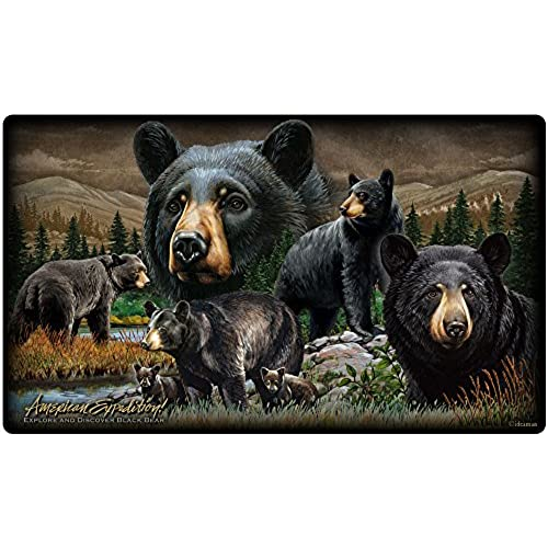 Wildlife Collage Tempered Glass Cutting Board (Black Bear)