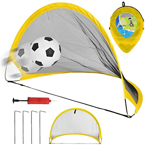 NiGHT LiONS TECH 26.7 inch Collapsible Soccer Goal Set of 2 with Travel Bag - Soccer Training Nets Ultra Portable Pop Up Football Goal Nets for Indoor Outdoor Sports Ball Game for Kids Gifts by NiGHT LiONS TECH