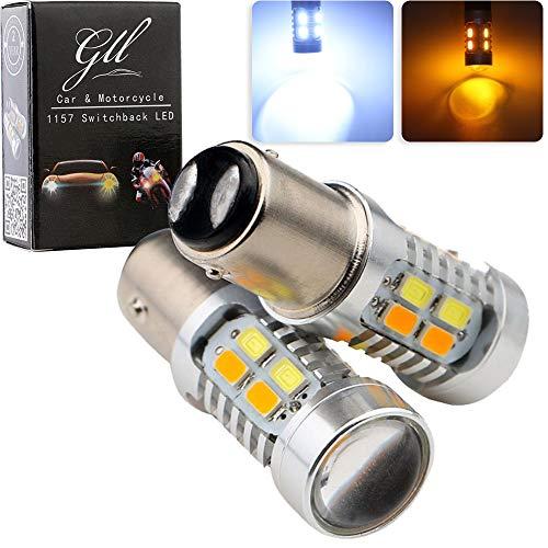 GLL 1157 BAY15D 5730 20 SMD Amber/White Switchback Turn Signal LED Light Bulbs 3.8W 12V LED Super Bright 600 Lumens 6000-6500K Brake Light Lamp (Pack of 2) (Led Switchback Turn Signal)