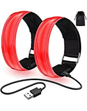 Led-armband, oplaadbaar, 2 stuks, lichtarmband, USB, reflectieformutie