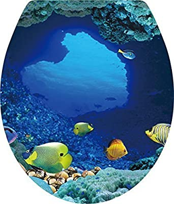 Boodecal Ocean Series undersea wall decals Tropical Fish Toilet Lid Cover Stickers For Bathroom Seat Waterfroof Peel and Stick stickers 15*12 Inches