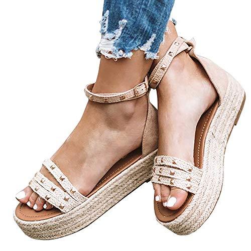 Kathemoi Womens Rivet Flatform Sandals Summer Espadrille Ankle Strap Wrap Open Toe Shoes Nude
