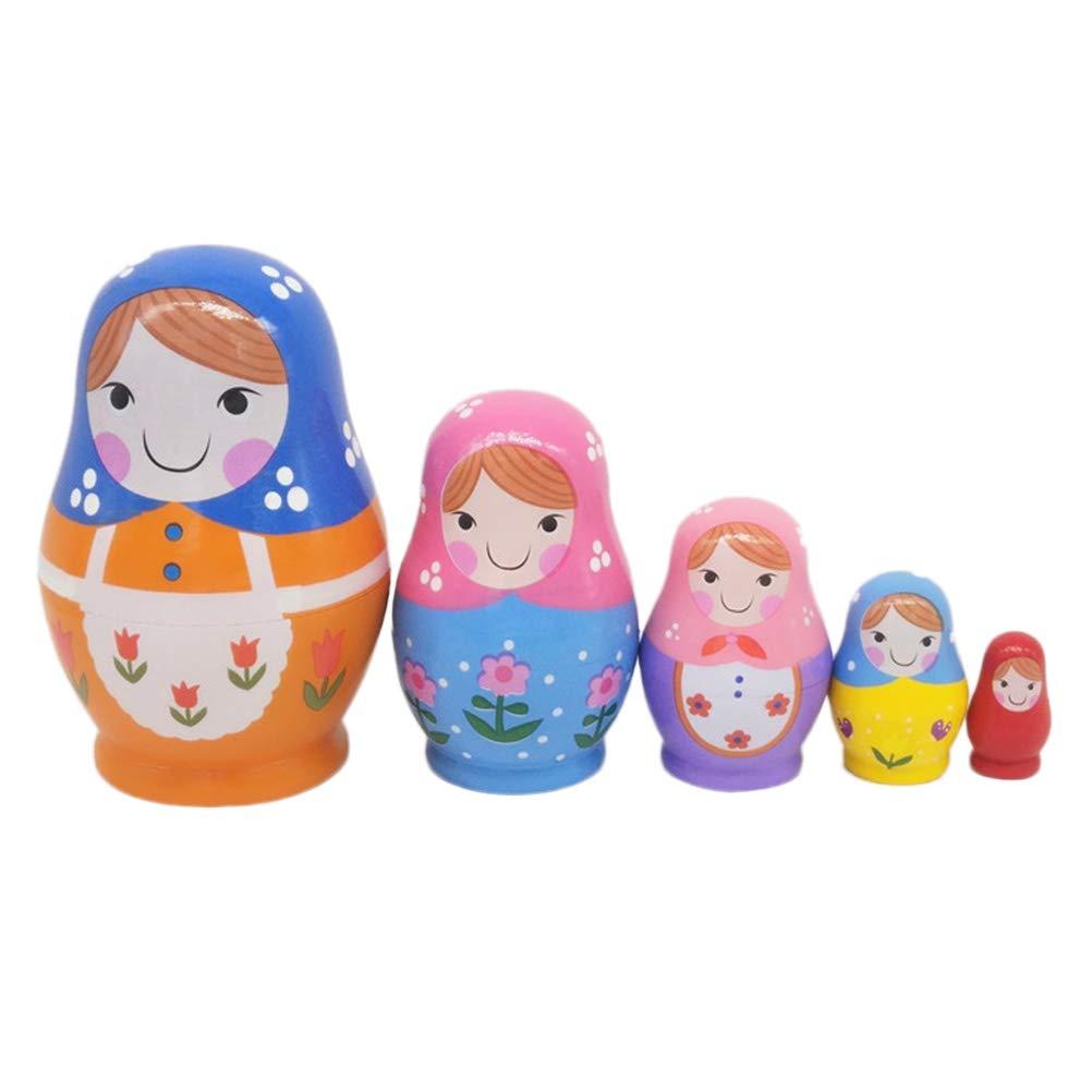 Healifty Marchio di Matrioska animali Bambole di nidificazione Adorabili bambole accatastate russe per bambini Giocattolo regalo - 5pz