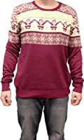 Ugly Christmas Sweater Santa Claus & Christmas Tree Adult Burgundy Sweater