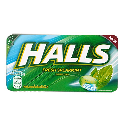 Halls, Fresh Spearmint Flavour Candy, net weight 22.4 g (Pack of 6 pieces) / Beststore by KK8