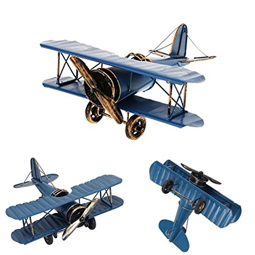 Metal Airplane Model,Kasien Fashion Simulate Metal Airplane Model Hot Pendant Home Decor Boy Favor Gift (Blue)