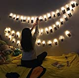 LED Photo Clips String Lights, 16 Photo Clips, 4,5 Meter/15 Feet, Warm White, Battery Powered Perfect for Hanging Pictures, Notes, Artwork