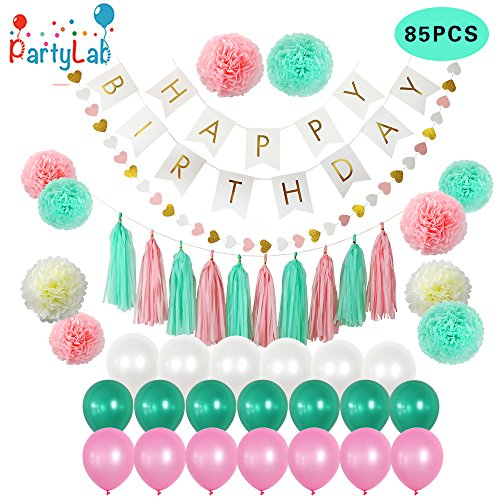 Kids Birthday Party Decoration - 85 PIECE Birthday Party Decoration Pack - Happy Birthday Banner - 20 Party Balloons -10 Paper Pom Poms - 10 Tassels - 32 Paper Heart Garland Perfect For Girls Birthday Party set