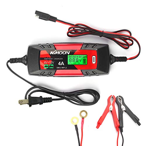 Doneioe KKmoonCar Battery Charger Battery Charger & Maintainer 6V/12V 4Amp Intelligent Automatic Battery Charger with LCD Screen Pulse Repair Charger for Cars Motorcycles Boat and More US Plug