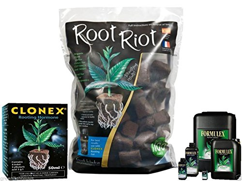 root riot 50 cubes refill bag & clonex 50ml & formulex 100ml FREE 60ml MEASURING CUP GROWTH TECHNOLOGY
