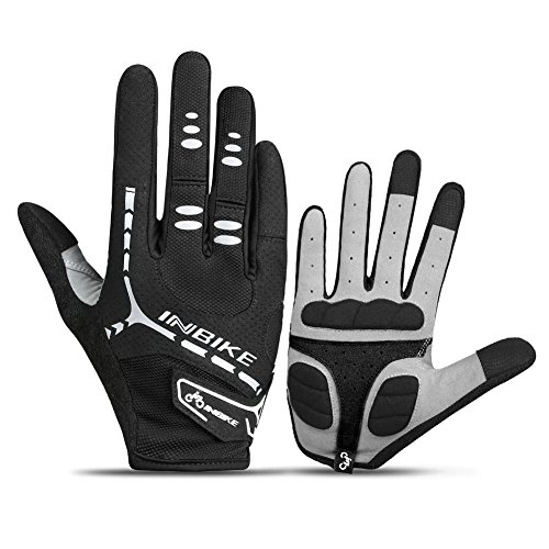 INBIKE Bicycle Gloves, Winter Touch Screen Full Finger Mountain Bike Gloves Men Gel Pad Black Large