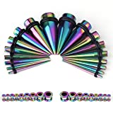 BodyJ4You 36PCS Gauges Kit Taper Single Screw Fit Rainbow Steel Taper Tunnel Plugs 14G-00G Jewelry