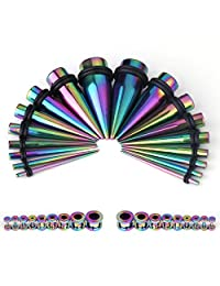 Taper Kit 36 Pieces Rainbow Stainless Steel with Screw Fit Plugs 18 Pairs 14G-00G Taper Stretching Kit