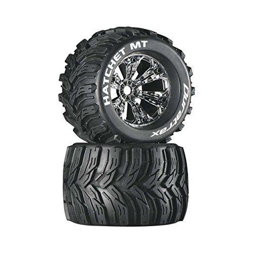 """Duratrax Hatchet MT 3.8"""" RC Monster Truck Tires with Foam Inserts, CS Sport Compound, Mounted On 1/2"""" Offset Chrome Wheels (Set of 2)"""