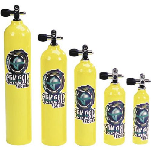 Catalina Pony Bottle Tanks, Yellow with Pro Valve - 6 Cubic Ft - Diving Cylinder Air Tank