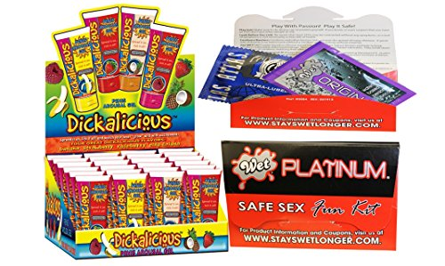 Bundle package 1 Dickalicious (24/DP) AND 1 Wet Safe Sex Kit with Platinum Silicone Lubricant by Hott Products Unlimited