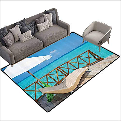 Non Slip Door Mat for Front Door Coastal Decor Collection,Parasol and Chaise Lounges Deckchair on a Terrace of Water Villa in Maldives Reef Picture,Aqua Sandy Blue Ivory 36