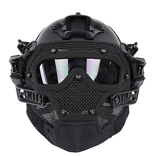 HYOUT Fast Tactical Helmet Combined with Full Mask and Goggles for Airsoft Paintball CS ( BK )