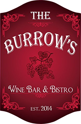 Grape Vine Custom Personalized Wine Bar Sign in Red with Established Date, Elegant Bar Sign, Bar Décor, Wine Sign, Bar & Bistro (2 Grapes Wall Plaques)