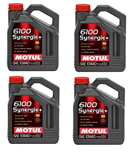 Motul 108647 Set of 4 6100 Synergie+ 10W-40 Motor Oil 5-Liter Bottles
