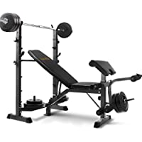 Everfit Muti-Station Weight Bench and 58KG Barbell Set Adjustable Fitness Exercise 300KG Capacity Home Gym Equipment…