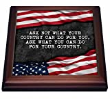 3dRose trv_237424_1 Ask What You Can Do for Your Country Patriotic Kennedy Quote Trivet with Tile, 8'' x 8''