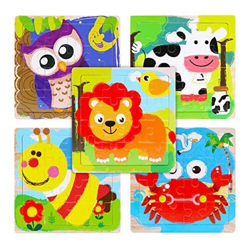 Wooden Jigsaw Puzzles Set for Kids Age 2 3 4 Year Old, WOOD CITY Animal Toddler Puzzles 16 Pieces, Preschool Educational Learning Toys, Gift for Boys and Girls (5 Puzzles)