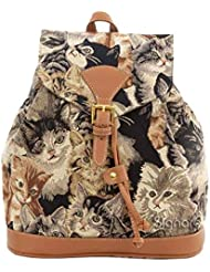 Cat Print Ladies Fashion Canvas Tapestry Flap Buckle Pull String Fashion Casual Rucksack Backpack by Signare (...