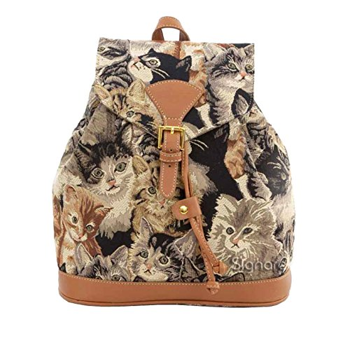 Cat Signare Rucksack Ladies Print String Tapestry Backpack Fashion CAT Fashion by Canvas RUCK Pull Buckle Flap Casual 6A6FrPwx