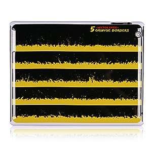 CL - Negro y amarillo Patrón de Franjas de plástico de nuevo caso para el iPad 2/3/4