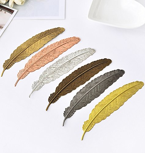 EKLOEN 6pcs Different Color Vintage Feather Metal Bookmarks Book Marker for School Supplies Stationery Gift by EKLOEN (Image #6)