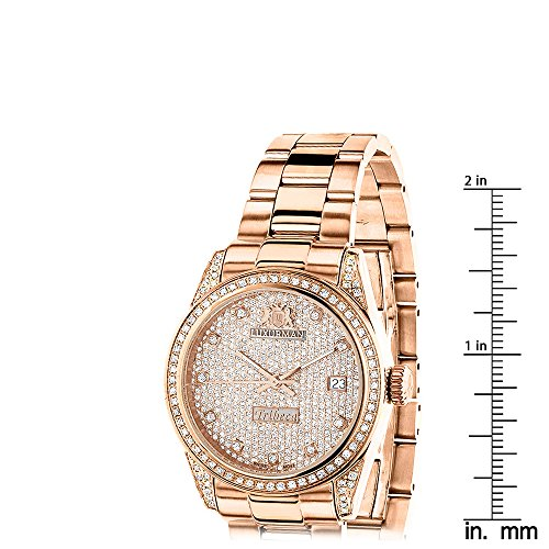 Rose Gold Plated Real Diamond Watch For Women 1 5ct Luxurman