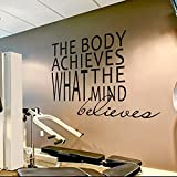"""Wall Decal Decor Gym Wall Decal Sports Quotes - The Body Achieves What The Mind Believes - Motivational Quotes Sports Wall Sticker(Black, 50""""h x58""""w)"""