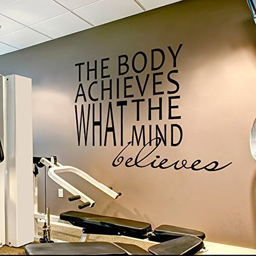 Garage gym wall decal decor sports quotes