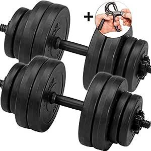 C.P. Sports Juego de pesas cortas, mancuernas de 30 kg, 2 barras ...