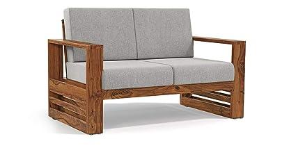 Monika Wood Furniture Sheesham Wood Sofa Set for Living Room Wood Furniture  , Office , Sofa Set | 2 Seater Sofa | Grey Cushion | Teak Finish:  Amazon.in: Home & Kitchen