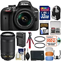 Nikon D3400 Digital SLR Camera & 18-55mm VR & 70-300mm DX AF-P Lenses with 32GB Card + Backpack + Battery & Charger + Flex Tripod + Filters + Kit