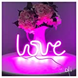 Neon Light,LED Love Sign Shaped Decor Light,Wall Decor for Chistmas,Birthday party,Kids Room, Living Room, Wedding Party Decor (purple pink)