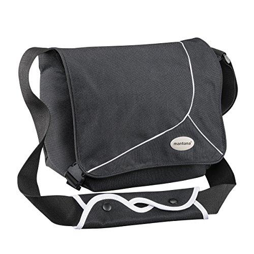 Mantona Mondstein SLR-Kameratasche (Messenger Bag, Universaltasche) schwarz/weiß