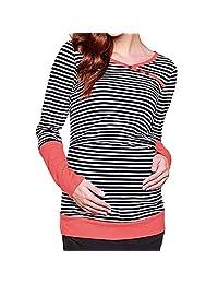 Clearance Women's Long Sleeves Striped Layered Maternity Nursing Tops Breastfeeding Sweatshirt T-Shirt Blouse