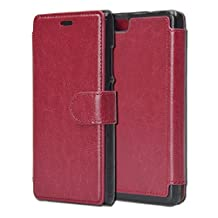 HuaWei P8 Lite Case,HuaWei Ascend P8 Lite Wallet Case, Tisuns [Layered Dandy] - [Ultra Slim][Wallet Case] - Leather Flip Cover With Credit Card Slot for HuaWei Ascend P8 Lite Case - (Red Wine)