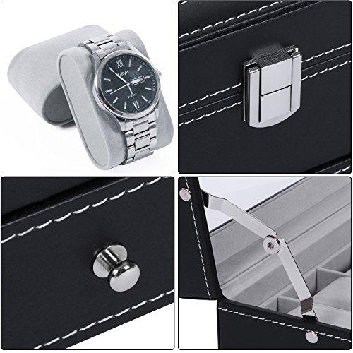 BEWISHOME Watch Box Organizer Case 12 Mens Jewelry Display Drawer w/Adjustable Tray Glass Top Black PU Leather SSH02B by BEWISHOME (Image #5)