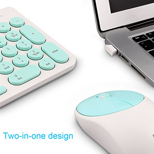 Wireless Keyboard and Mouse Combo, FD iK6630 2.4GHz Cordless Cute Round Key Set Smart Power-Saving Whisper-Quiet Slim Combo for Laptop, Computer,TV and Mac (Mint Green & White) by FD (Image #4)