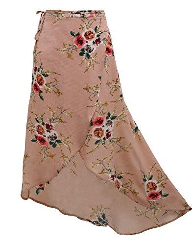 Floral Femmes Jupe Imprim Adjustable Robe Rose de Cache Maillot t Longue Fendue Boho Sexy Plage Jupe Maxi Bikini fAYWnf
