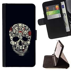 Momo Phone Case / Flip Funda de Cuero Case Cover - Modelo del cráneo de Halloween Negro embrujada - LG G4 Stylus H540