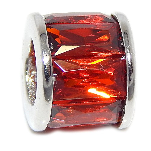 Pro Jewelry 925 Solid Sterling Silver Spacer with Rectangular Red CZ Charm (Rectangular Spacer Beads)