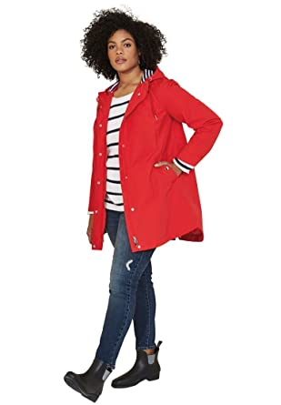 83f32195b3c Amazon.com  Ellos Women s Plus Size Snap-Front Hooded Raincoat  Clothing