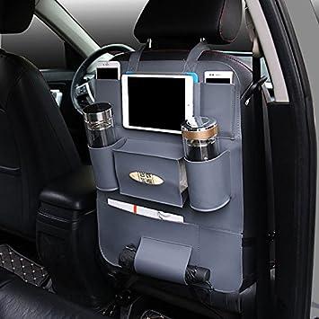 AutoEC Water Repellent Pu Leather Car Seat Back Organizer And IPad Mini Holder Universal